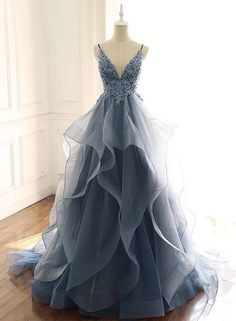 Blue Gray Tulle V Neck Long Ruffles Prom Dress, Lace Evening Dress from Sweetheart Dress