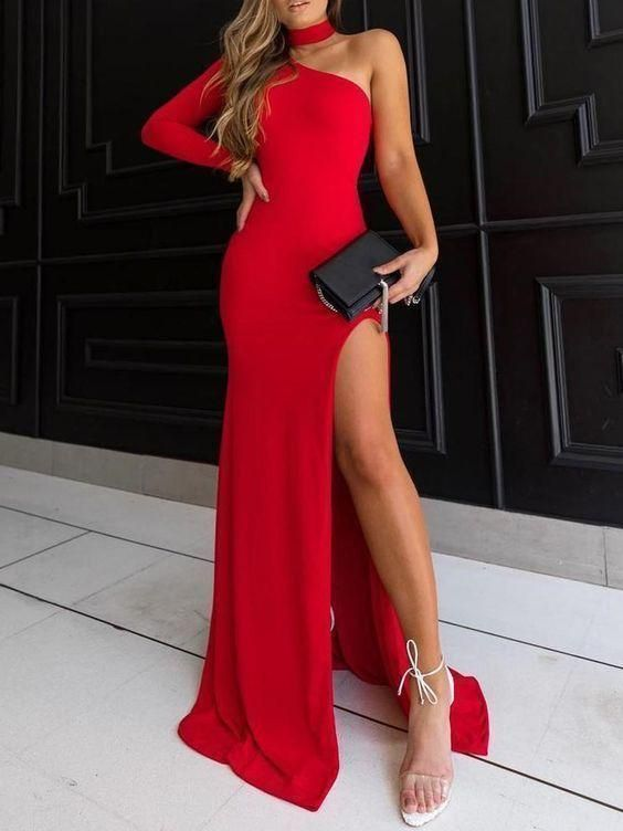 Boho Prom Dress, Charming Sheath Halter High Split Black /Red Elastic Satin Long Prom Dresses, Sexy Evening Party Dresses