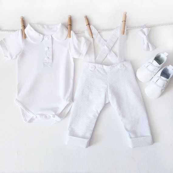 Boys Baptism Outfit, Baby Boys Christening Outfit, Boy Baptism Suit, Baptism Clothes for Boys, Dedication Outfit, White Seersucker