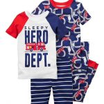 Boys Firetruck 4-Piece Pajama Set - Size 5 - CD18O77WCNO