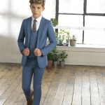 Boys ultra slim petrol blue suit