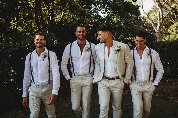 Braces have never looked so good! This groom and his groomsmen are looking fine …