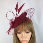 Burgundy Fascinator Claret Hatinator Ladies Day at the Races Mother of the Bride Wedding Hat Occasion Tea Party