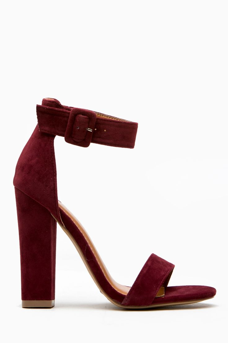 Burgundy Faux Suede Chunky Ankle Strap Heels @ Cicihot Heel Shoes online store s…