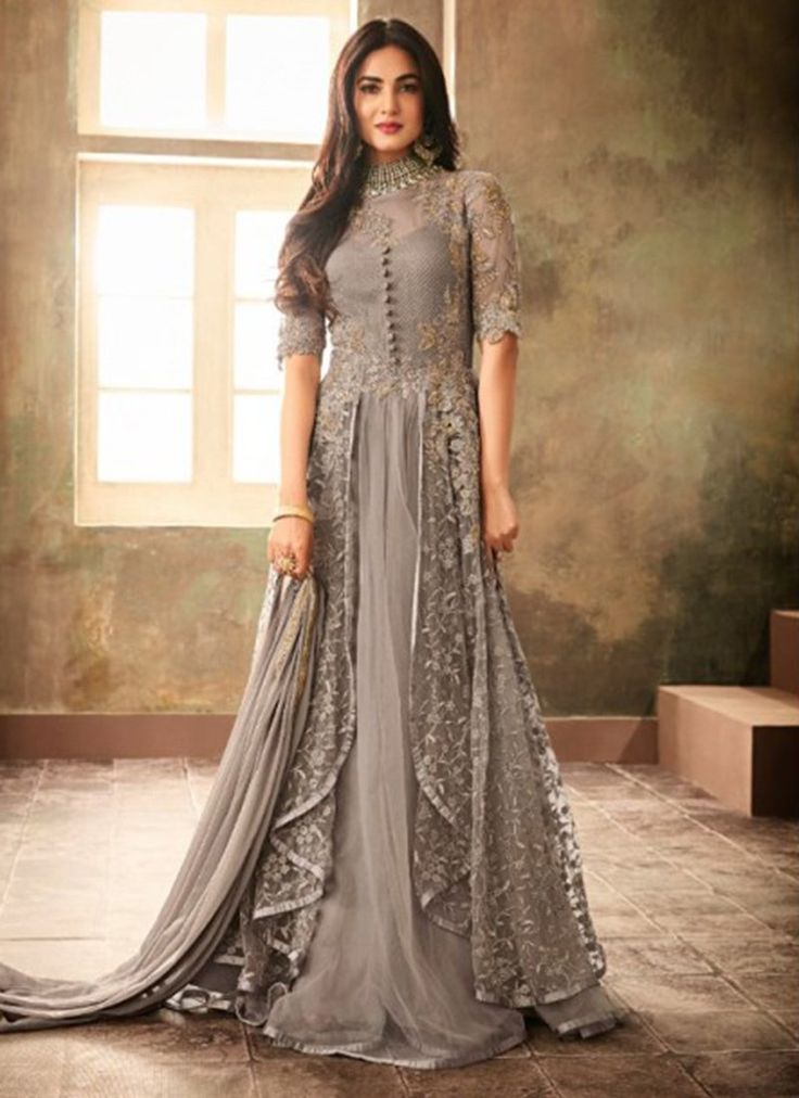 Buy Sonal Chauhan Light Grey Embroidered Anarkali Suit, Embroidered, anarkali suit Online Shopping | SLSCC346707