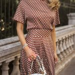 CLICK FOR OUTFIT DETAILS! // Silk polka dot maxi skirt with coordinating polka d...