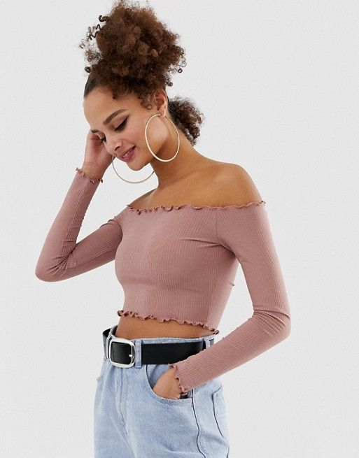 COLLUSION ribbed off shoulder top