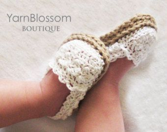 CROCHET PATTERN – Baby Girl Espadrille Shoes – booties slippers baby shoes PDF Instant Download