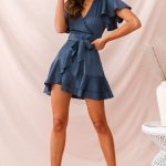 Cami Angel Sleeve Faux Wrap Dress Blue
