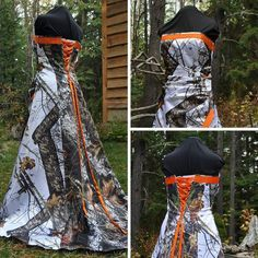 Camo and Orange Wedding Dress made with Mossy Oak