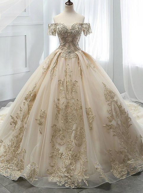 Champagne Ball Gown Tulle Off The Shoulder Appliques Wedding Dress from DRESS