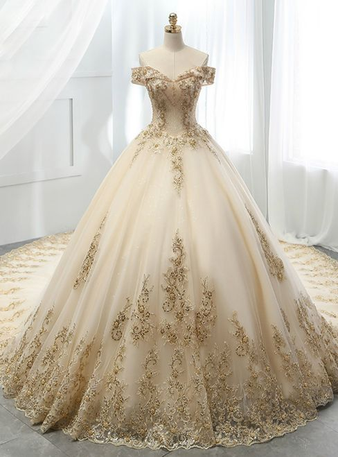 Champagne Ball Gown Tulle evening dress Gold Lace Appliques Wedding Dress