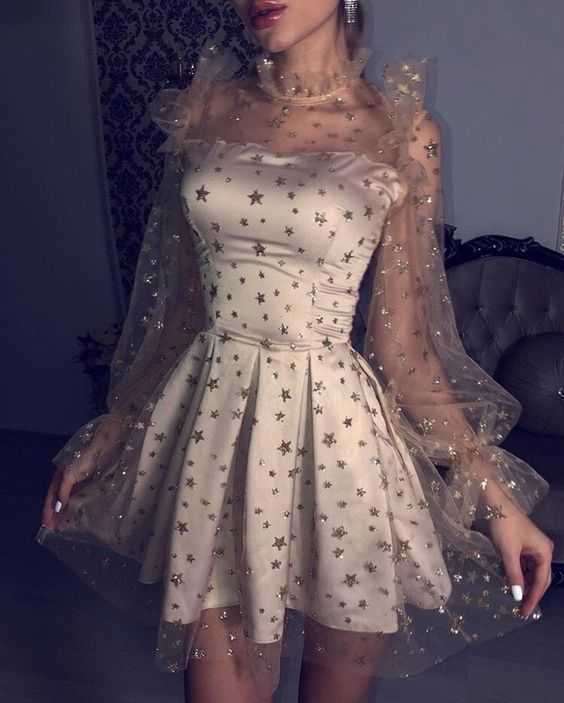 Champagne Bubble Sleeves Homecoming Dresses,See Through Long Sleeves Homecoming Dresses,A-line Homecoming Dresses