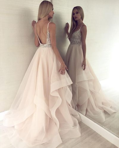 Champagne v neck tulle long prom dress, champagne tulle evening dress,LV1438 from LaviDress