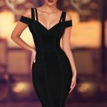 Chanel Off Shoulder Bandage Dress- Black