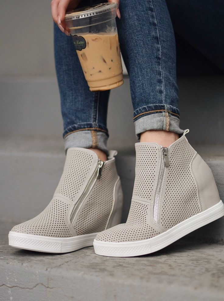 Charlotte Perforated Wedge Sneaker W/ Zippers