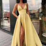 Charming A Line Spaghetti Straps Yellow Prom Dresses with Split Front,LV1297