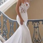 Charming Appliques Lace Mermaid Wedding Dresses with Straps, Sexy Sleeveless Bridal Gown Vestido de novia