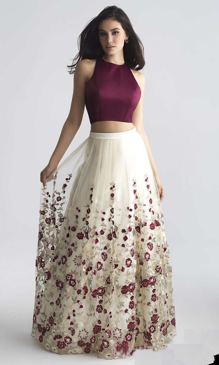 Charming Two-Piece Prom Dress,A-Line Prom Dress with Embroidery,Burgundy Sleeveless Prom Gown