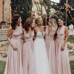Cheap Long Blush Pink Bridesmaid Dresses Convertible Maxi Dress ARD1913