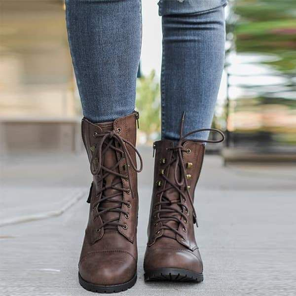 Chellysun Military Lace Up Knit Ankle Boots