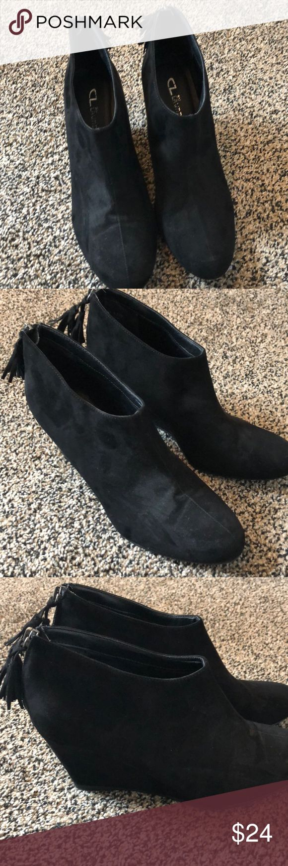 Chinese Laundry boots Black suede ankle boots. 3in heel never worn Chinese Laund…