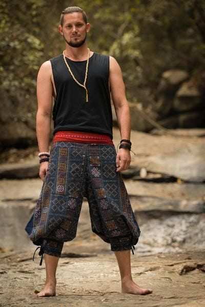 Clovers Thai Hill Tribe Fabric Unisex's Harem Pants with Ankle Straps in Blu…