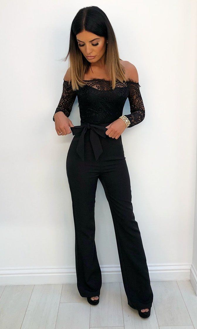 Coming For You Black Lace Long Sleeve Off The Shoulder Straight Leg Jumpsuit