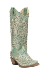 Corral Boot Company Women's Turquoise with Glitter Inlay Western Snip Toe Boots