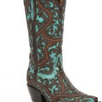 Corral Boots Lasercut Studded Block Heel Boots. Brown and turquoise cowboy boots...