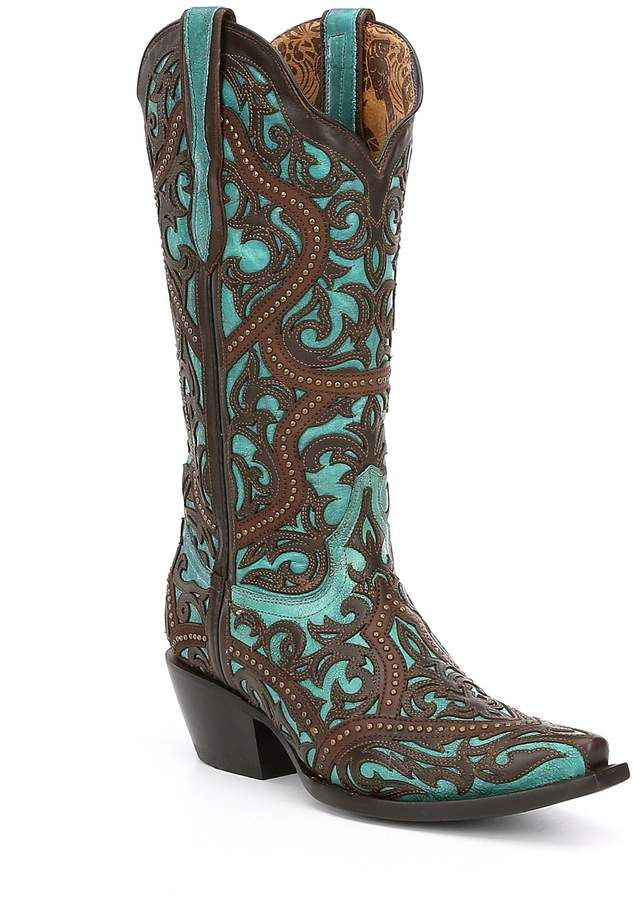 Corral Boots Lasercut Studded Block Heel Boots. Brown and turquoise cowboy boots…