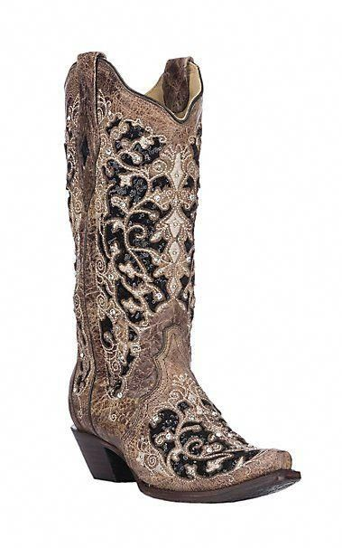 Corral Women's Brown & Black Sequin Inlay with Embroidery & Studs Western Snip Toe Boots