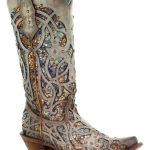Corral Women's Taupe Inlay Western Boots - Snip Toe