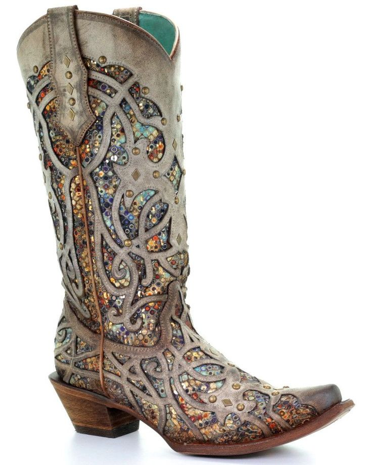 Corral Women's Taupe Inlay Western Boots – Snip Toe