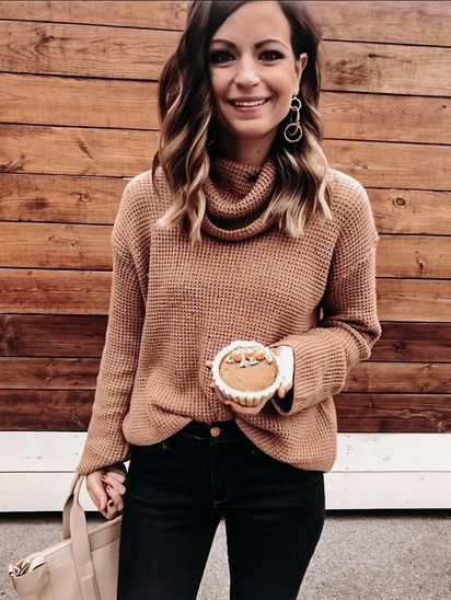 Cozy Cowl Neck Camel Sweater. The perfect sweater you NEED in your closet for th…