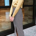 Cute yellow blouse and plaid pencil skirt