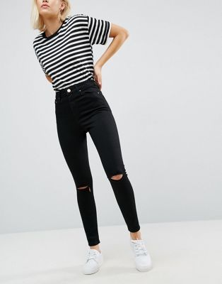 DESIGN Ridley high waisted skinny jeans in clean black with ripped knees