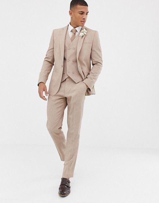 DESIGN wedding slim suit jacket in camel cross hatch