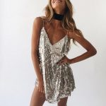 Deep V Neck Autumn Silver Sequined Backless Sexy Dress Women Off Shoulder Mini Dress Christmas Party Club Strap Dresses Vestidos - WHITE L