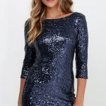 Delightful Ways Navy Blue Sequin Dress