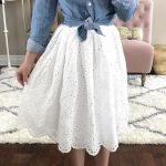 Denim top with white lace skirt. Love this outfit for spring! Classy and Chic St...