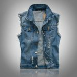 Details about Men Denim Vest Jean Jacket Waistcoat Sleeveless Vintage Punk Casual Jacket BLUE