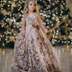 Details about Pink Flower Girl Dresses 3D Flower Applique Pearls Princess Kids Party Gown