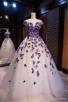 Details about Purple Butterfly Appliques Ball Quinceanera Dress Birthday Party Sweet 15 Gown