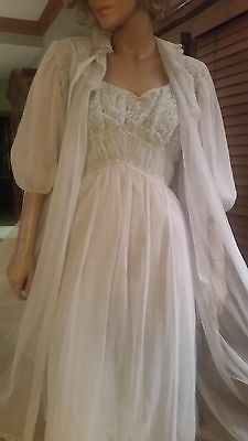 Details about S VTG SLIP NEGLIGEE LINGERIE Nightgown DOUBLE CHIFFON Robe Peignoir Set RADCLIFF