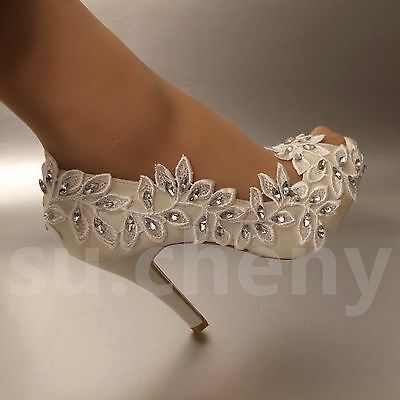 Details about su.cheny 3″ 4″ heel white ivory lace Olive branch open toe Wedding Bridal shoes
