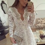 Discount Great Short, Long Sleeves, Lace, V-Neck