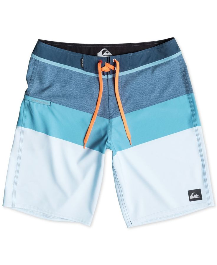 Dive right in to cool style with these colorblocked swim trunks from Quiksilver….