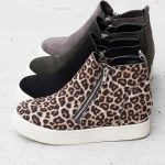 Edgy Diagonal Zipper Sneaker Wedges