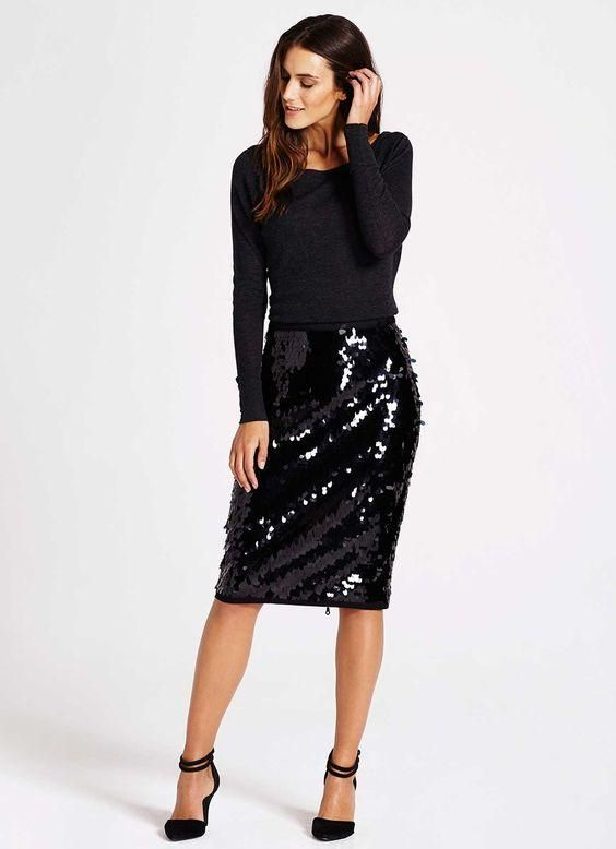 Elegant Stretchy High Waist Sequin Pencil Skirt